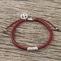 Silver accented cord bracelet, 'New Day' - Dark Red Cord Flower Motif Bracelet with Silver Peace Charm