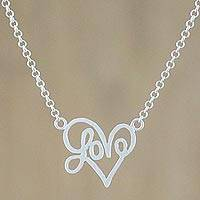 Sterling silver pendant necklace, 'All for Love' - Brushed Satin Sterling Silver Love Necklace