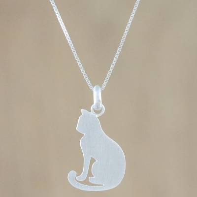 Sterling silver pendant necklace, 'Cat's Shadow' - Artisan Crafted Silver Cat Necklace with Brushed Finish