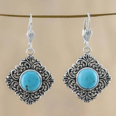 Sterling silver dangle earrings, 'Reflecting Pool' - Sterling Silver Reconstituted Turquoise Earrings