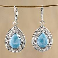Larimar dangle earrings, 'Cool Clarity' - Lace-Like Silver Dangle Earrings with Larimar