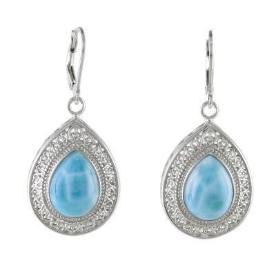 Lace-Like Silver Dangle Earrings with Larimar