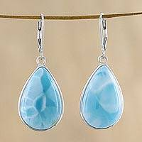 Larimar dangle earrings, 'Ethereal Sky' - 925 Silver and Larimar Dangle Earrings from Thailand
