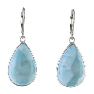 925 Silver and Larimar Dangle Earrings from Thailand