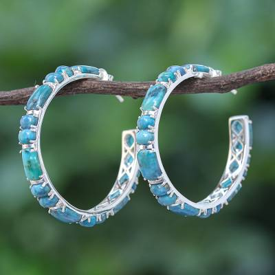 Turquoise half-hoop earrings, 'Blue Cascade' - Natural Turquoise Half Hoop Earrings with Sterling Silver