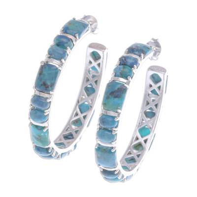 Natural Turquoise Half Hoop Earrings with Sterling Silver