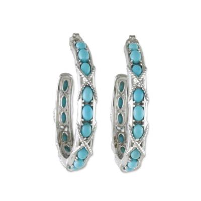 Nautical Style Turquoise Half Hoop Earrings from Thailand