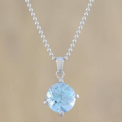 Blue topaz pendant necklace, 'Blue Brilliance' - Circular Faceted Topaz Pendant Necklace from Thailand