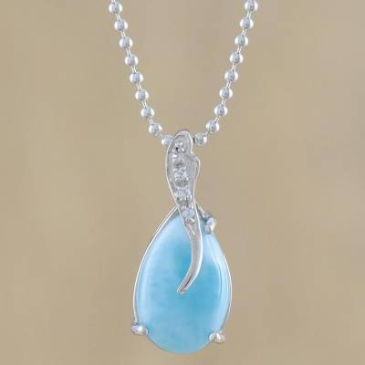 Larimar pendant necklace, 'Cradled Drop' - Drop-Shaped Larimar and CZ Pendant Necklace from Thailand