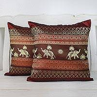 Cushion covers, 'Regal Lanna in Cherry' (pair) - Two Woven Cushion Covers with Elephants in Cherry