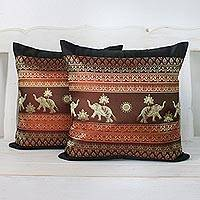 Cushion covers, 'Regal Lanna in Black' (pair) - Pair of Woven Cushion Covers with Elephants in Black