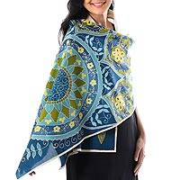 Cotton batik shawl, 'Wonderland' - Hand Dyed Batik Cotton Shawl in Blues and Greens