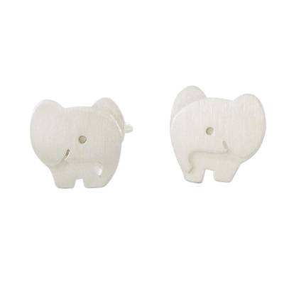 Brushed Sterling Silver Elephant Stud Earrings from Thailand