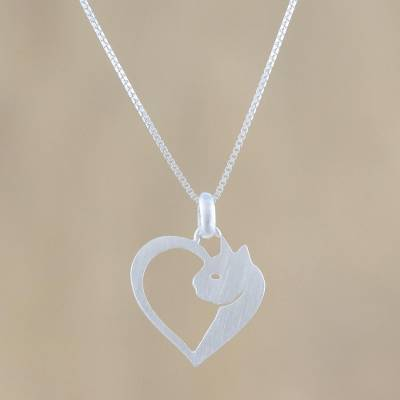 Sterling silver pendant necklace, 'Soul of a Kitten' - Cat Heart Sterling Silver Pendant Necklace from Thailand