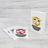 Hand painted greeting cards, 'Happy Owls' - Hand Painted Owl Greeting Cards with Envelopes (Set of 4)