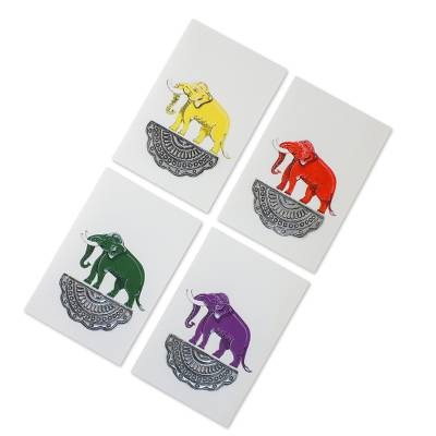 Blank Greeting Cards with Hand Painted Elephants (Set of 4)