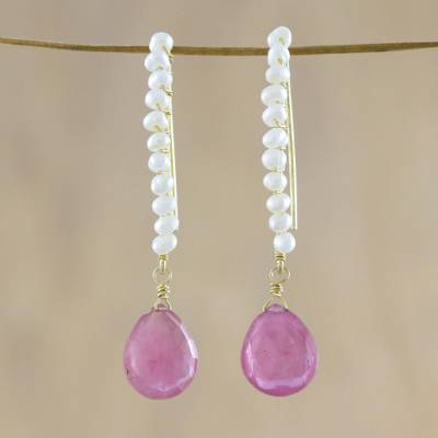 Gold plated cultured pearl and quartz dangle earrings, 'Dreaming of You' - Cultured Pearl and Pink Quartz Dangle Earrings
