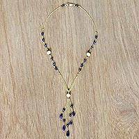 Gold plated tanzanite and onyx lariat necklace, 'Wild Blue Yonder' - Lariat Style Gold Plated Necklace with Tanzanite