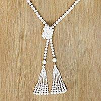Gold plated cultured pearl wrap necklace,