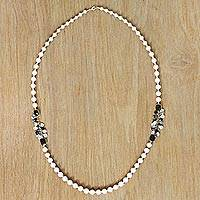 Gold plated cultured pearl long strand necklace,