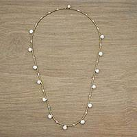 Cultured pearl station necklace, 'Fresh Blossoms' - Cultured Pearl Beaded Station Necklace from Thailand