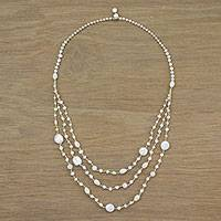 Cultured pearl and quartz long beaded necklace, 'Festive Holiday in White' - Cultured Pearl Multigem Beaded Necklace from Thailand