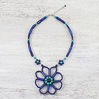 Multi-gemstone pendant necklace, 'Big Flower' - Multi-Gemstone Blue Flower Necklace from Thailand