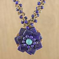 Multi-gemstone pendant necklace, 'Chiang Mai Flower' - Multi-Gemstone Floral Necklace from Thailand