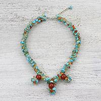 Multi-gemstone beaded choker, 'Coastal Roads' - Multi-Gemstone Beaded Pendant Choker from Thailand