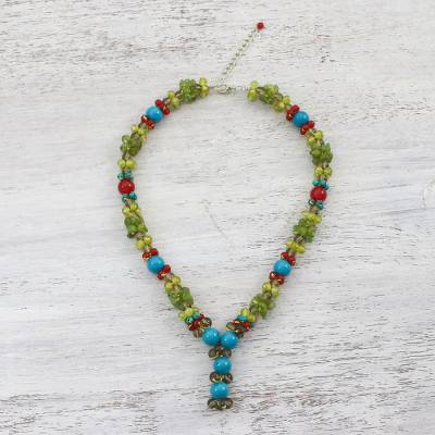 Multi-gemstone beaded necklace, 'Succulent Cluster' - Multi-Gemstone Colorful Beaded Necklace from Thailand