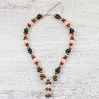 Multi-gemstone beaded necklace, 'Sweet Cluster' - Natural Gemstone Beaded Pendant Necklace from Thailand