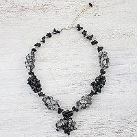 Multi-gemstone beaded necklace, 'Cozy Night' - Multi-Gemstone Beaded Necklace in Black from Thailand