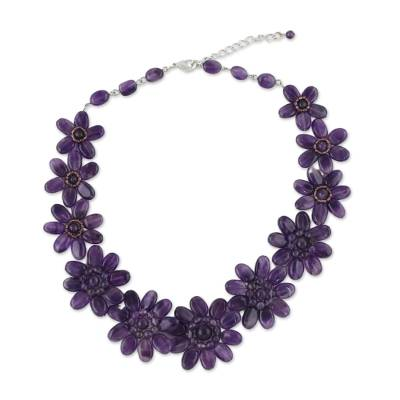 Purple Amethyst Glass Floral Beaded Statement Necklace