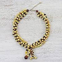 Beaded multi-gemstone necklace, 'Summer Maize' - Multi Gemstone Necklace with Garnet and Tiger's Eye