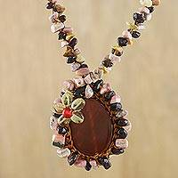 Beaded rhodonite pendant necklace, 'Homespun Charm' - Beaded Gemstone Necklace with Carnelian Pendant