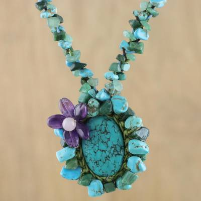 Beaded calcite pendant necklace, 'Homespun Charm' - Turquoise Colored Multi Gemstone Beaded Necklace