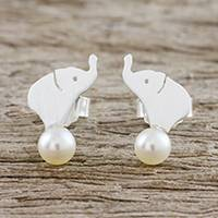 Featured review for Cultured pearl button earrings, Pure Elephants
