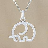 Sterling silver pendant necklace, 'Fatherhood' - Elephant Sterling Silver Pendant Necklace from Thailand