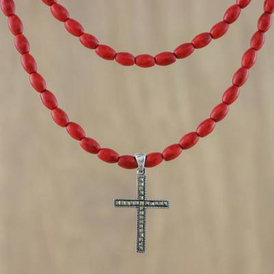 Marcasite pendant necklace, 'Red Rosary' - Cross Pendant Necklace with Marcasite and Howlite Beads