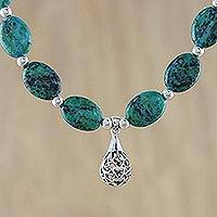 Serpentine pendant necklace, 'Chao Phraya Stones' - Beaded Blue Green Serpentine Pendant Necklace