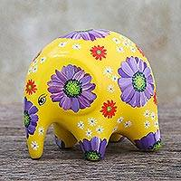 Ceramic figurine, 'Thai Elephant Flower' - Floral Hand Painted Ceramic Elephant Figurine