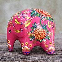Ceramic figurine, 'Thai Elephant Garden' - Pink Painted Elephant Figurine with Floral Motifs