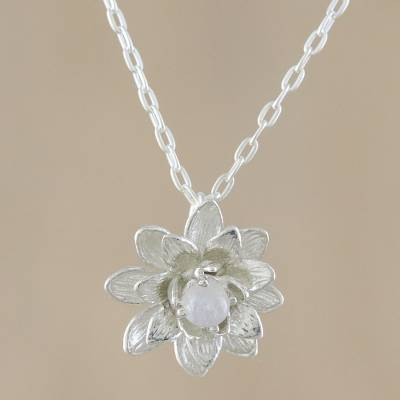 Rainbow moonstone pendant necklace, 'Wonderful Water Lily' - Rainbow Moonstone and Silver Water Lily Pendant Necklace
