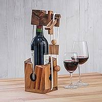 Wood puzzle, 'Open the Bottle' - Handmade Wood Bottle Holder and Puzzle from Thailand