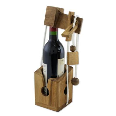Handmade Wood Bottle Holder and Puzzle from Thailand