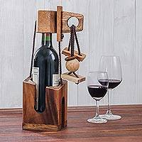 Wood puzzle, 'Don't Break The Bottle' - Wood Puzzle and Wine Bottle Holder from Thailand