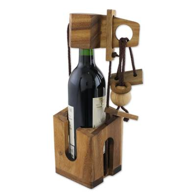 Wood Puzzle and Wine Bottle Holder from Thailand