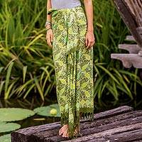 Cotton batik sarong, 'Nature Breeze' - 100% Cotton Sarong from Thailand Batik with Leaf Pattern