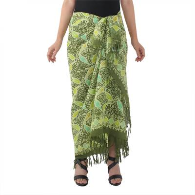 100% Cotton Sarong from Thailand Batik with Leaf Pattern