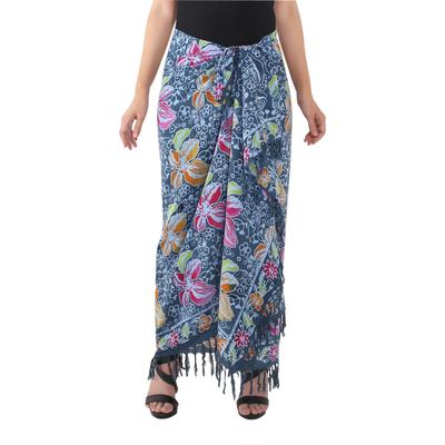 Teal Cotton Batik Sarong with Floral Print